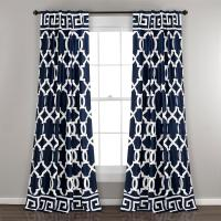Lush Decor Maze Border Window Panel in Navy - 84 in. L x ...