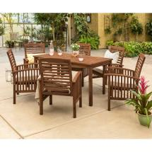 Walker Edison Furniture Company 7-piece Dark Brown Acacia