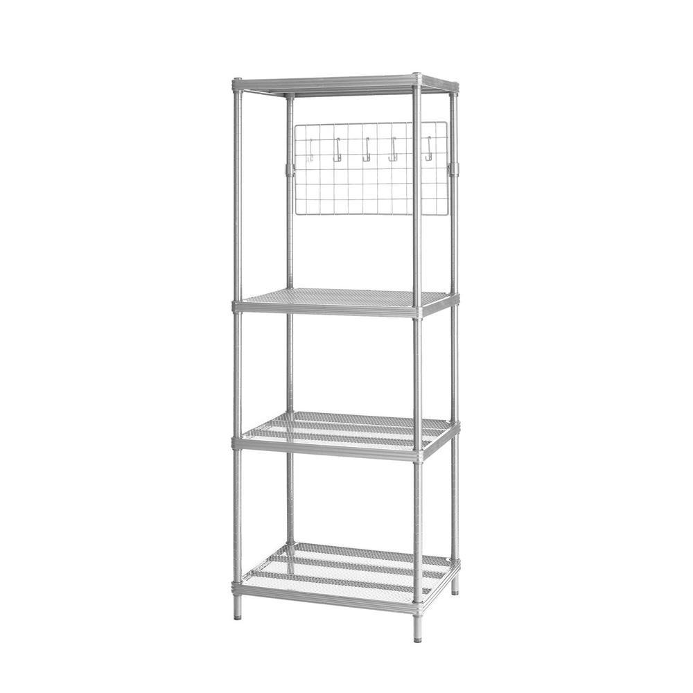 Design Ideas MeshWorks 4-Shelf Metal Silver Freestanding