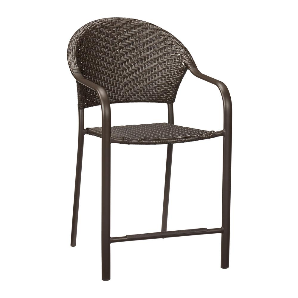 Woven Dining Chair Hampton Bay Mix And Match Stackable Balcony Height Wicker Outdoor Bistro Dining Chair In Brown