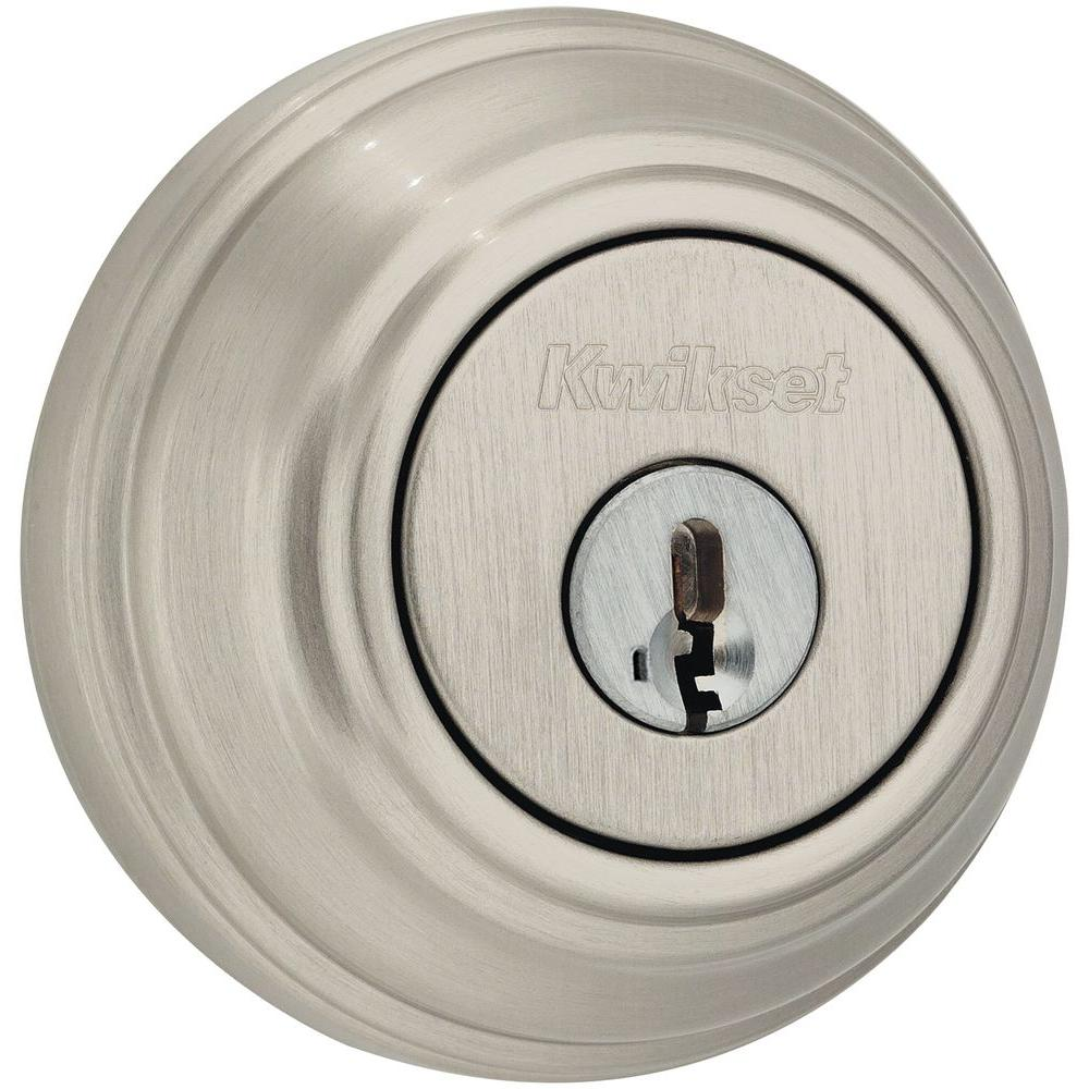 hight resolution of kwikset 985 series satin nickel double cylinder deadbolt featuring smartkey security