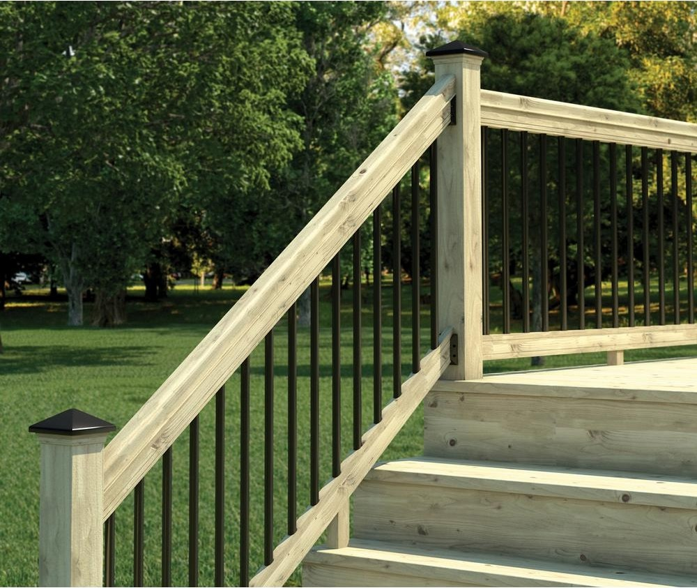 Weathershield 6 Ft Pressure Treated Stair Railing Kit With Black | Pressure Treated Deck Handrail | Real Wood | Light Color | Deck Board | Southern Yellow Pine | Decking