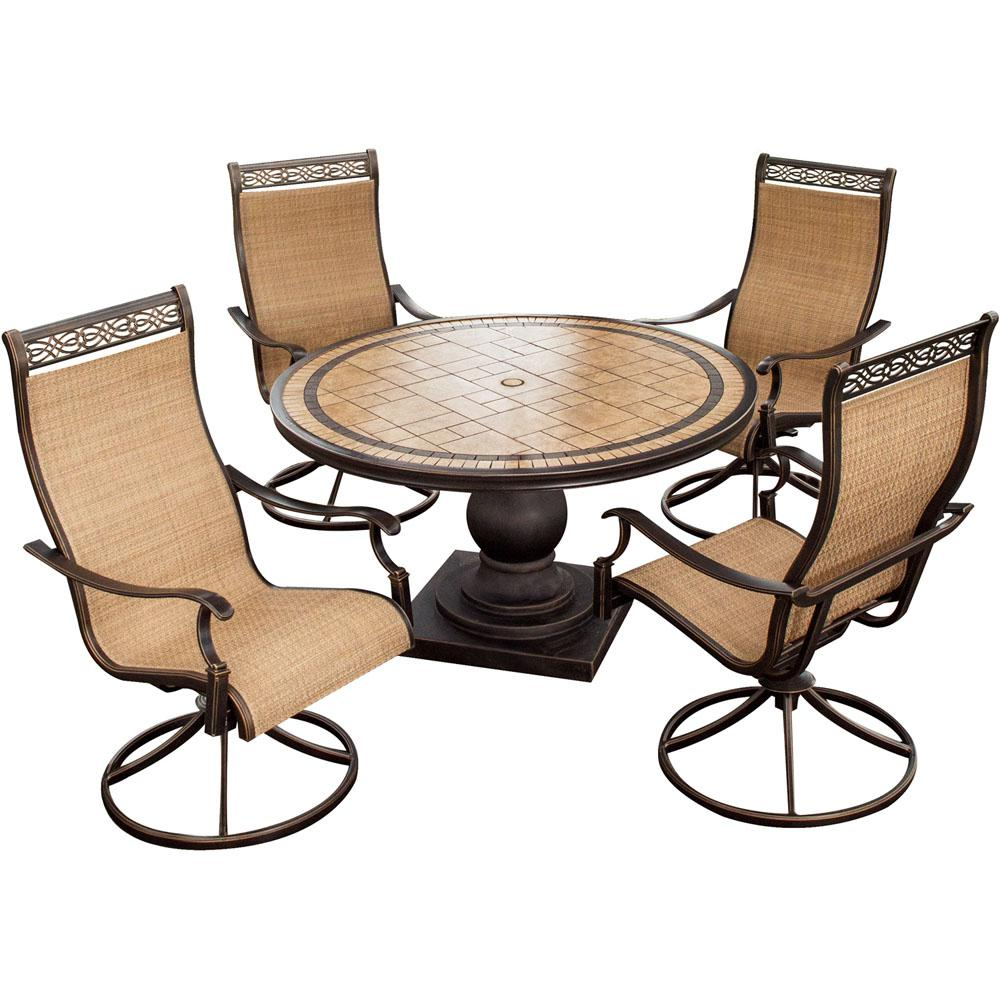 table with swivel chairs eno lounger chair hanover monaco 5 piece aluminum round outdoor dining set tile top and