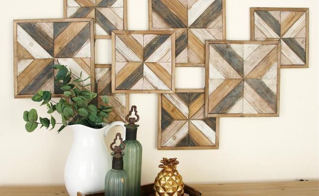 Litton Lane Rustic Brown Wooden Herringbone Panel Wall