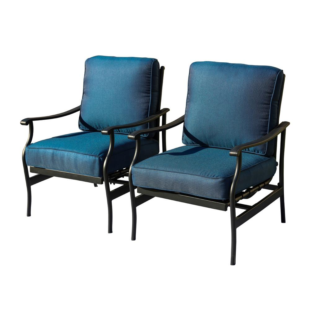 Patio Festival Metal Outdoor Rocking Chair with Blue
