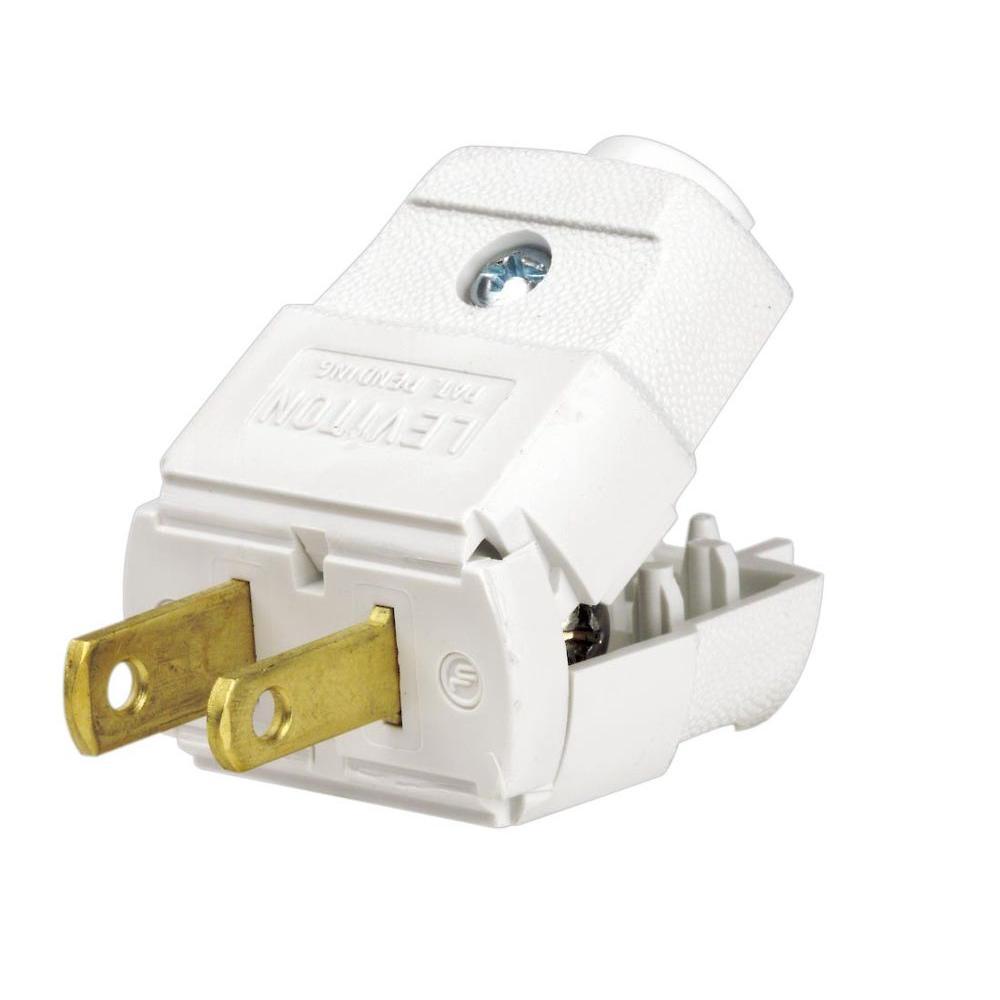 medium resolution of leviton 15 amp 125 volt light duty plug r52 00101 0wp the home depot leviton 101wp 2 wire plug light duty polarized white electric