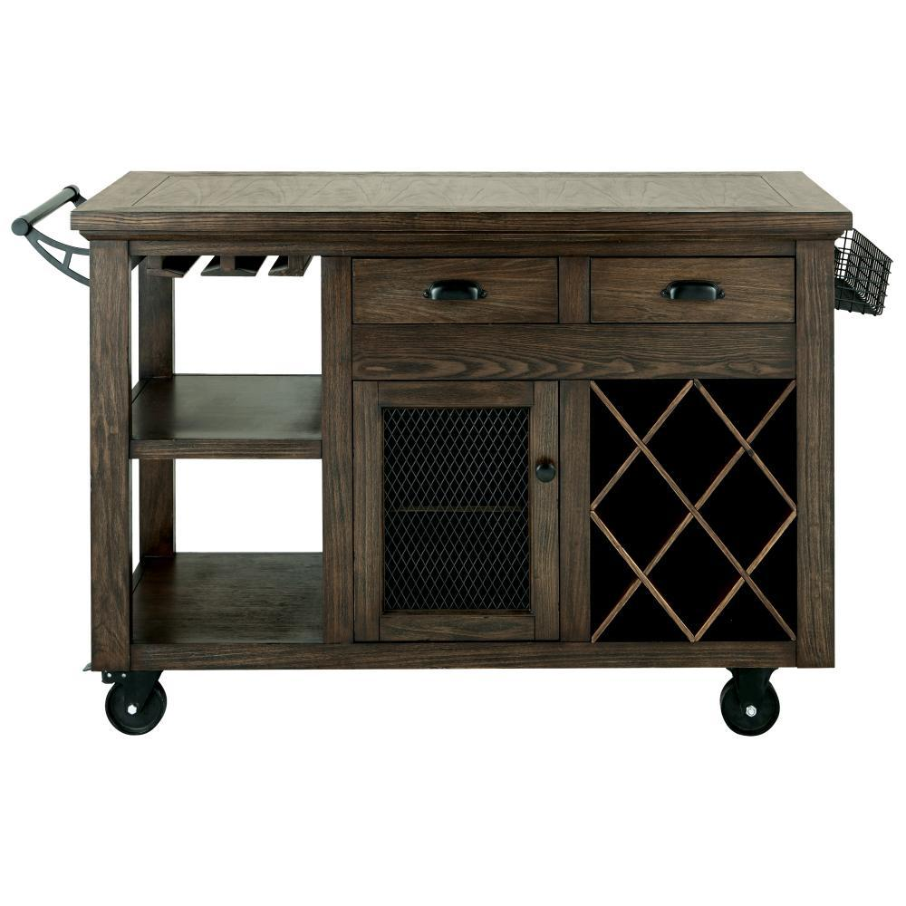 Home Decorators Collection Cooper Rustic Walnut Kitchen Cart With