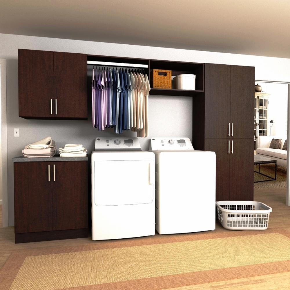 Modifi Horizon 120 In W Mocha Hanging Rod Laundry Cabinet Kit ENL120B HMG The Home Depot