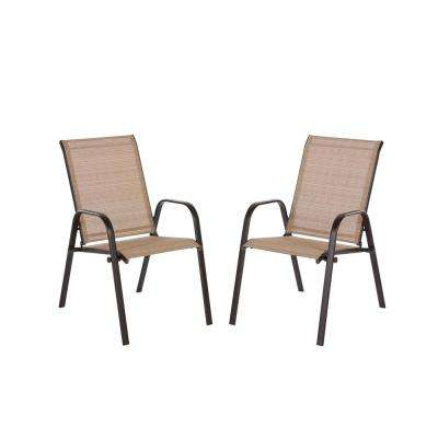 stackable outdoor chairs styling for sale dining patio the home depot mix and match brown sling chair in cafe 2 pack