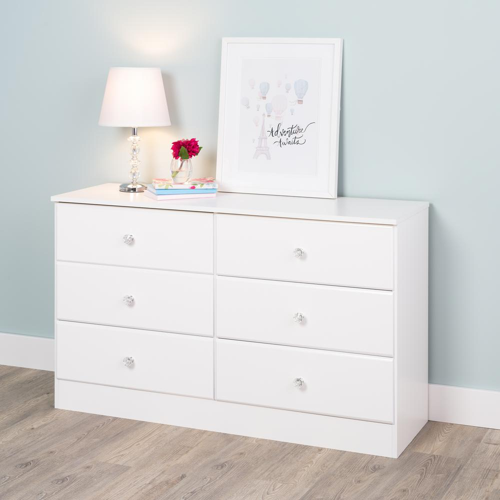 prepac astrid 6 drawer crystal white dresser wdbr 0402 1 v the home depot