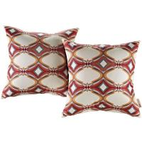 MODWAY Patio Square Outdoor Throw Pillow Set in Repeat (2