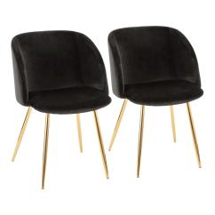 Black Velvet Chair Office Jousting Lumisource Fran And Gold Set Of 2 Ch Au