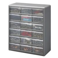 Stack-On 18-Compartment Gray Storage Cabinet for Small ...