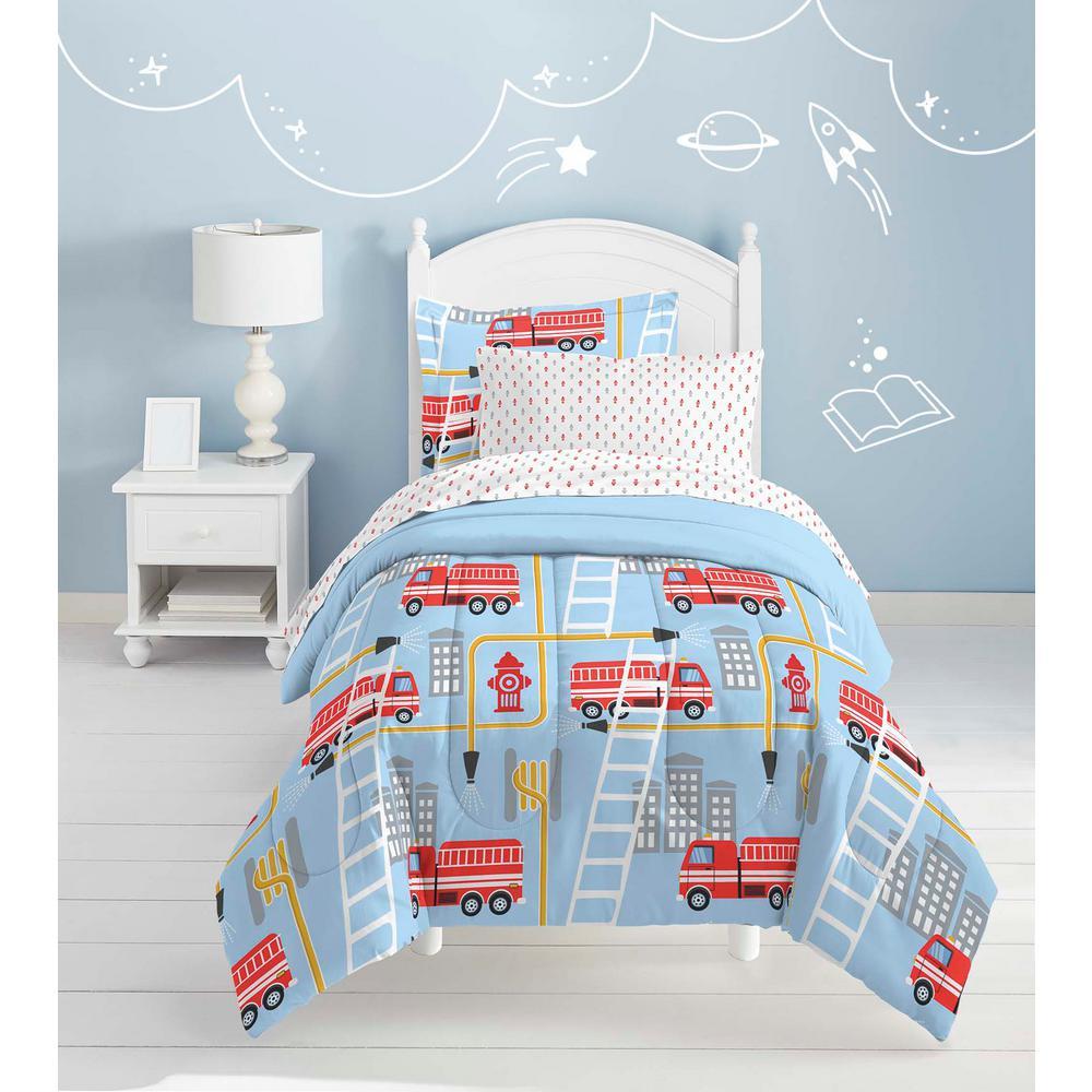 fire truck 7 piece blue full comforter set