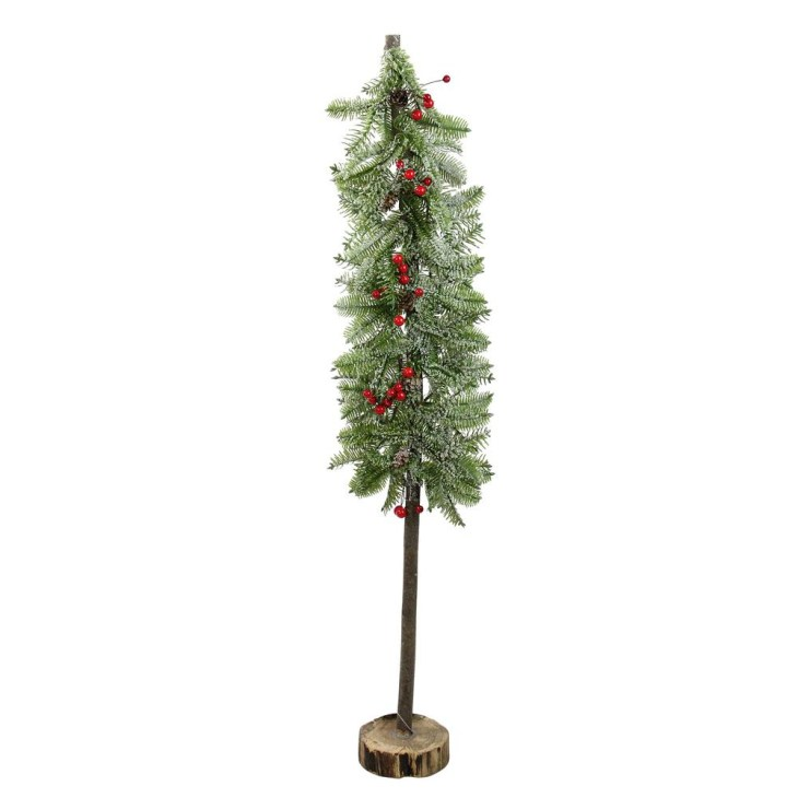 Glittered Country Rustic Artificial Alpine Christmas Tree with Holly  Berries Table Top Decoration