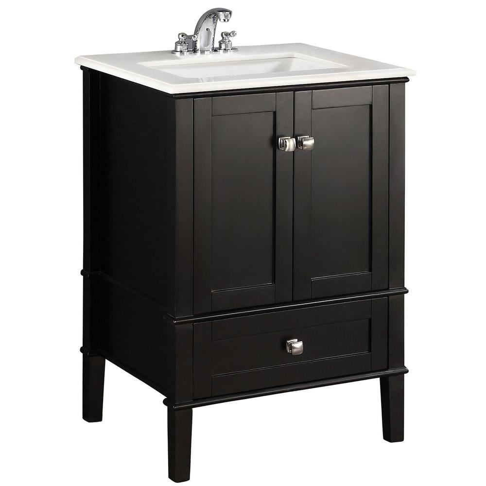 Ferguson Bathroom Vanities Simpli Home Chelsea 24 In Bath Vanity In Black With Quartz Marble Vanity Top In White With White Basin