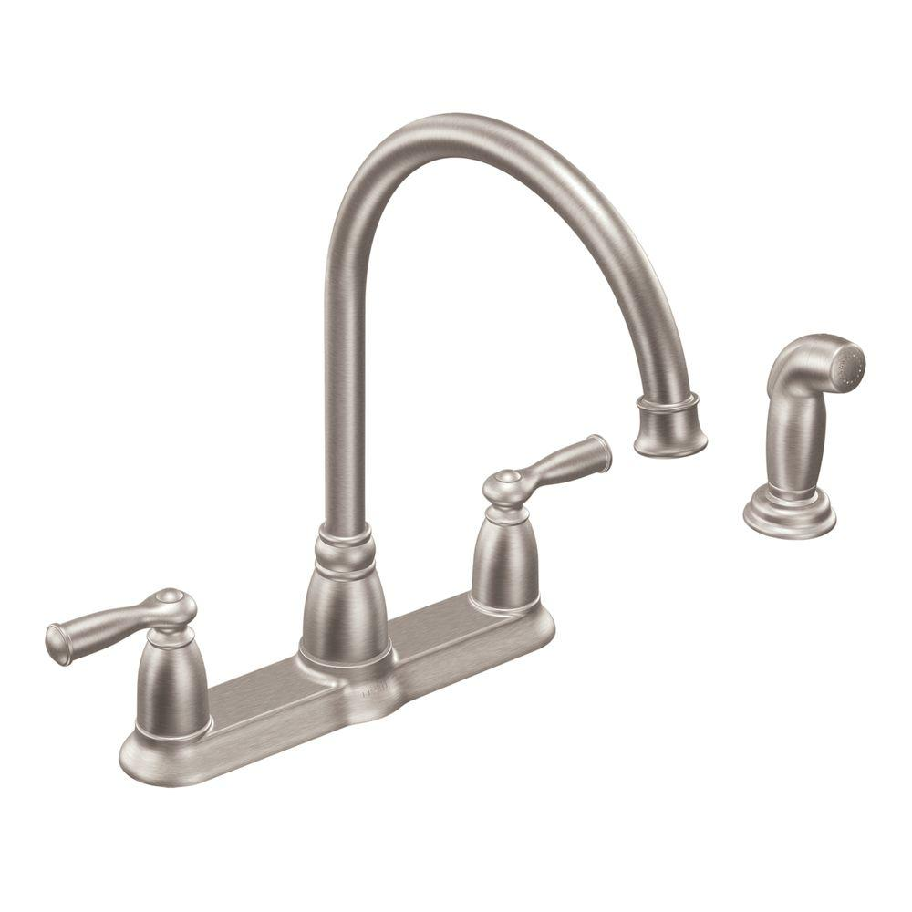 moen kitchen sink faucets island black banbury high arc 2 handle standard faucet with side sprayer in spot