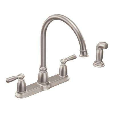 four hole kitchen faucets seamless flooring moen 4 the home depot banbury high arc 2 handle standard faucet with side sprayer in spot resist