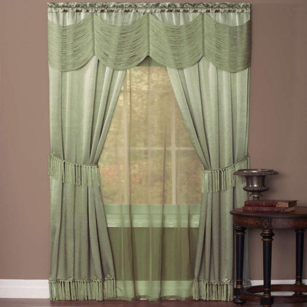 Achim Sheer Halley Sage Window Curtain Set - 56 In. X 63 L-hlpn63sg06 Home Depot