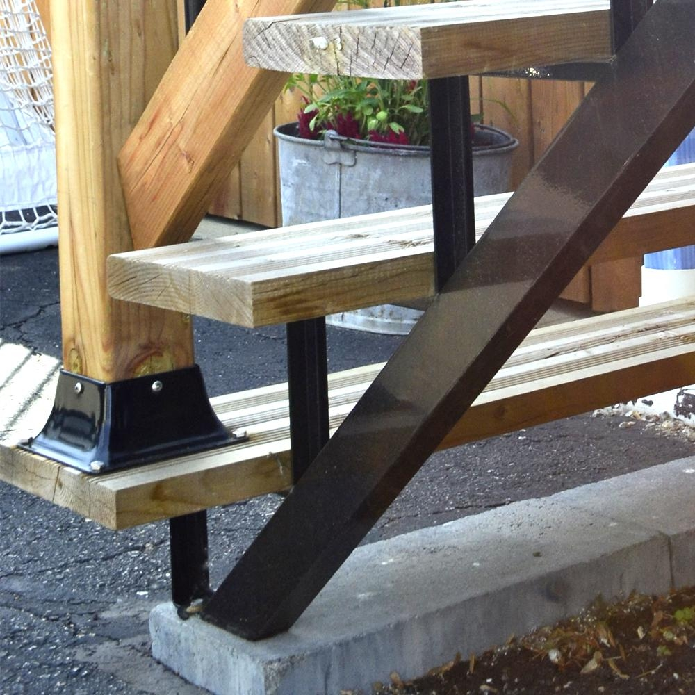 Pylex 3 Steps Steel Stair Stringer Black 7 1 2 In X 10 1 4 In | Metal Steps Home Depot | Roofing | Galvanized Steel | Step Stool | Gorilla Ladders | Wrought Iron Railings