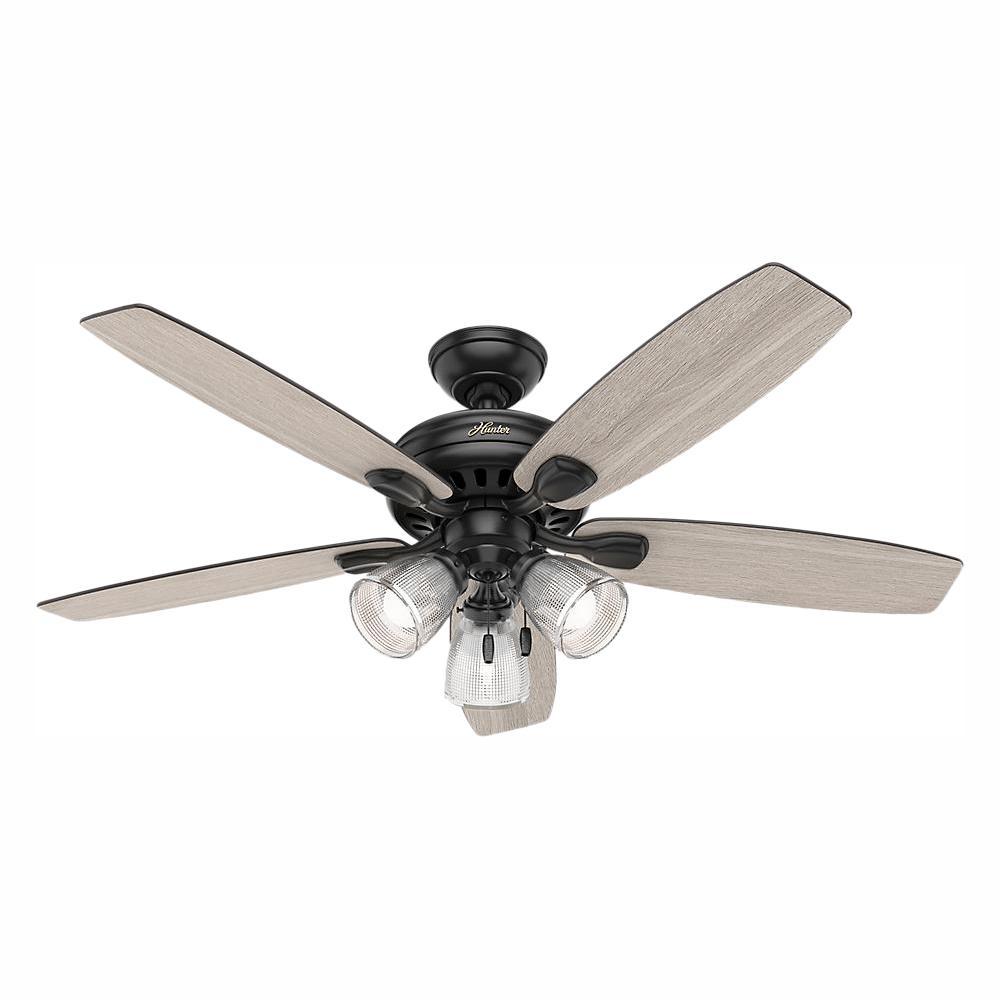 hight resolution of hunter highbury ii 52 in led indoor matte black ceiling fan with hunter ceiling fan wiring harness 28676a