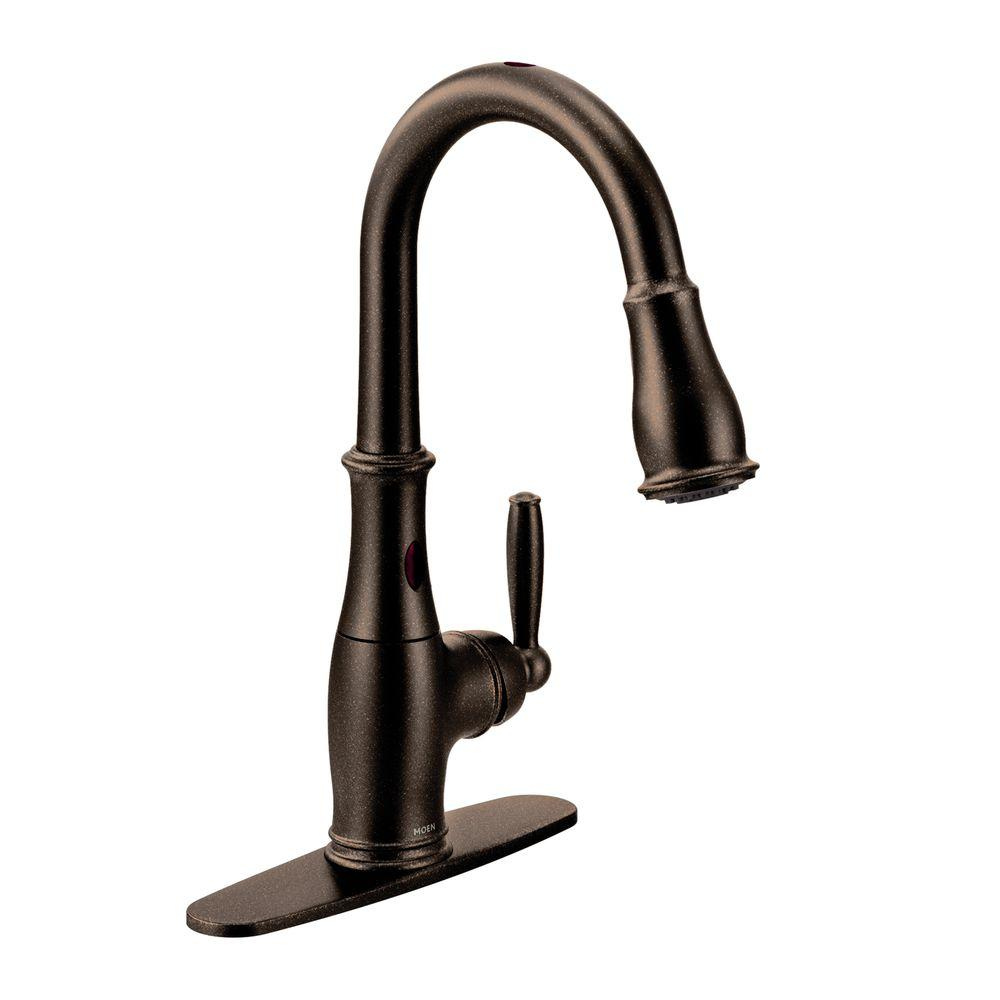 bronze kitchen faucet pull down brass faucets moen brantford single handle sprayer touchless with motionsense and power