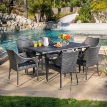 Noble House Cliff Gray 7-piece Wicker Outdoor Dining Set