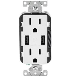 leviton 3 6a usb dual type a in wall charger with 15 amp tamper resistant outlets white wiring double duplex receptacles in room [ 1000 x 1000 Pixel ]