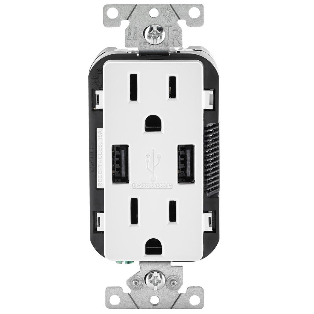 medium resolution of leviton 3 6a usb dual type a in wall charger with 15 amp tamper resistant outlets white wiring double duplex receptacles in room