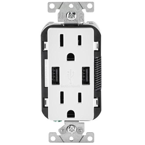 small resolution of leviton 3 6a usb dual type a in wall charger with 15 amp tamper resistant outlets white wiring double duplex receptacles in room