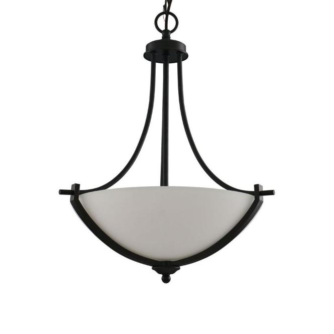 Hampton Bay 3 Light Bronze Pendant With White Frosted Glass Shade