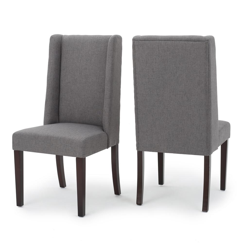 Wingback Dining Room Chairs Noble House Braelynn Dark Grey Fabric Wing Back Dining Chair Set