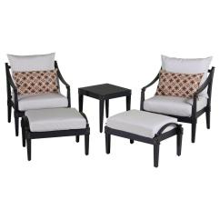Outdoor Chair And Ottoman Second Hand Tables Chairs Co Uk Rst Brands Astoria 5 Piece Patio Club Set With Moroccan Cream Cushions
