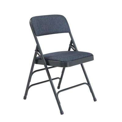 folding chair dolly 50 capacity the barbers tables chairs furniture home depot nps 2300 series blue fabric upholstered triple brace premium