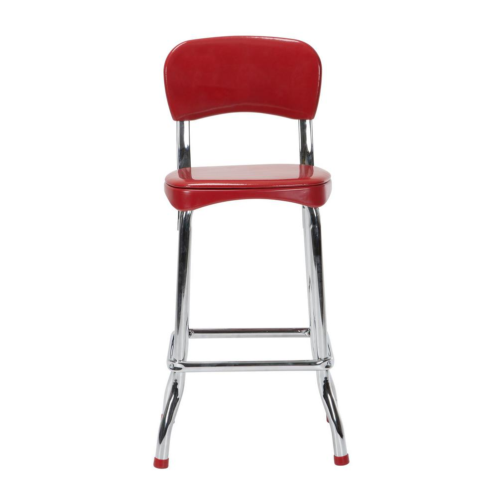 retro chrome chairs queen anne recliner cosco 2 piece red and 34in h high top
