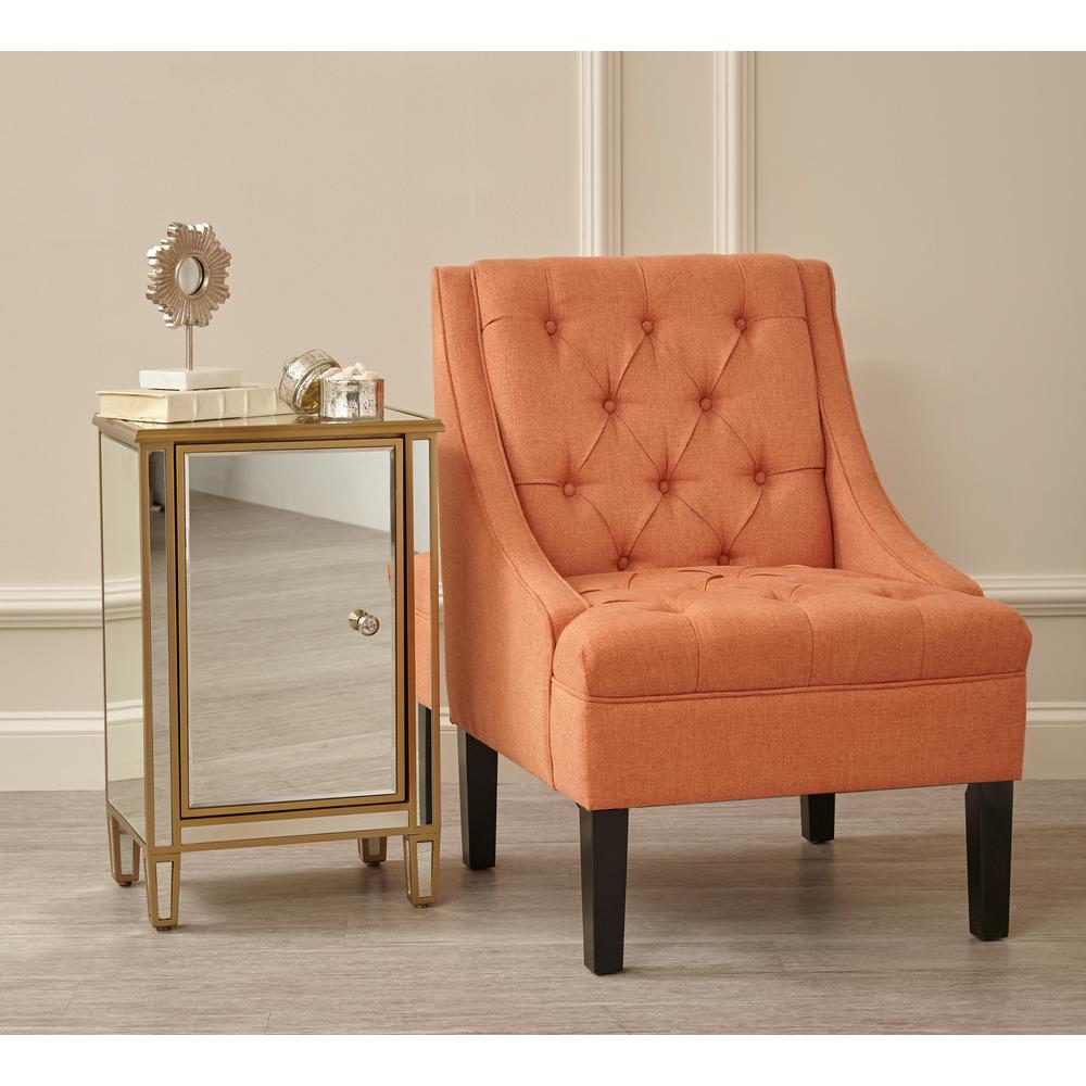 accent chairs with arms wayfair kitchen pulaski furniture scoop arm button tufted sateen salmon orange chair ds 2510 900 478 the home depot