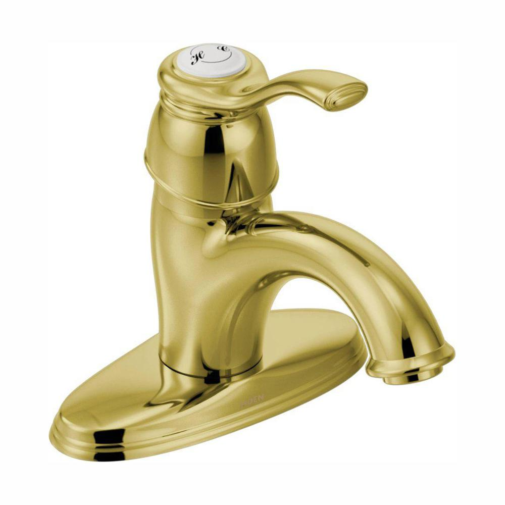 Moen Kingsley Bathroom Faucet Moen Kingsley 4 In Centerset 1 Handle Low Arc Bathroom Faucet In Polished Brass With Metal Drain Assembly