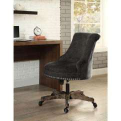 Desk Chairs On Wheels Black Dining Room Chair Covers Rustic Office Home Furniture Sinclair Gray Polyester