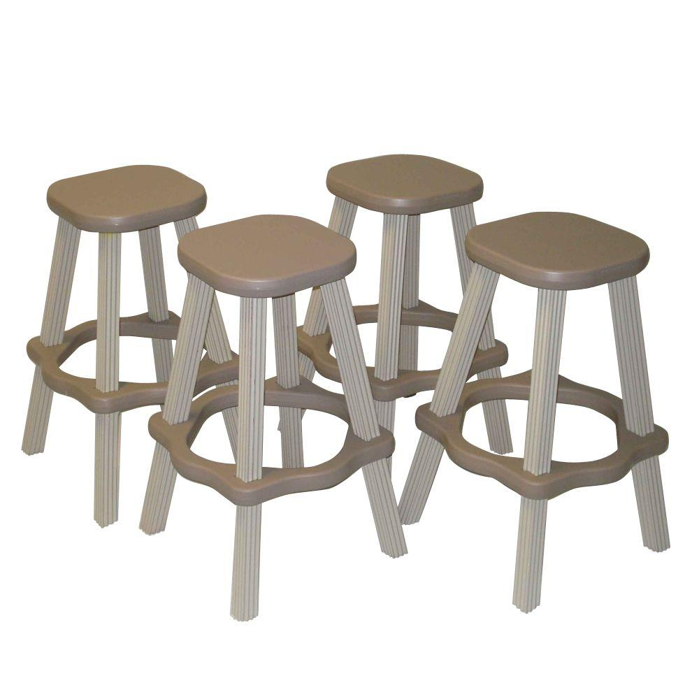 high bar stool chairs chair to ease back pain leisure accents 26 in taupe resin patio stools set of 2