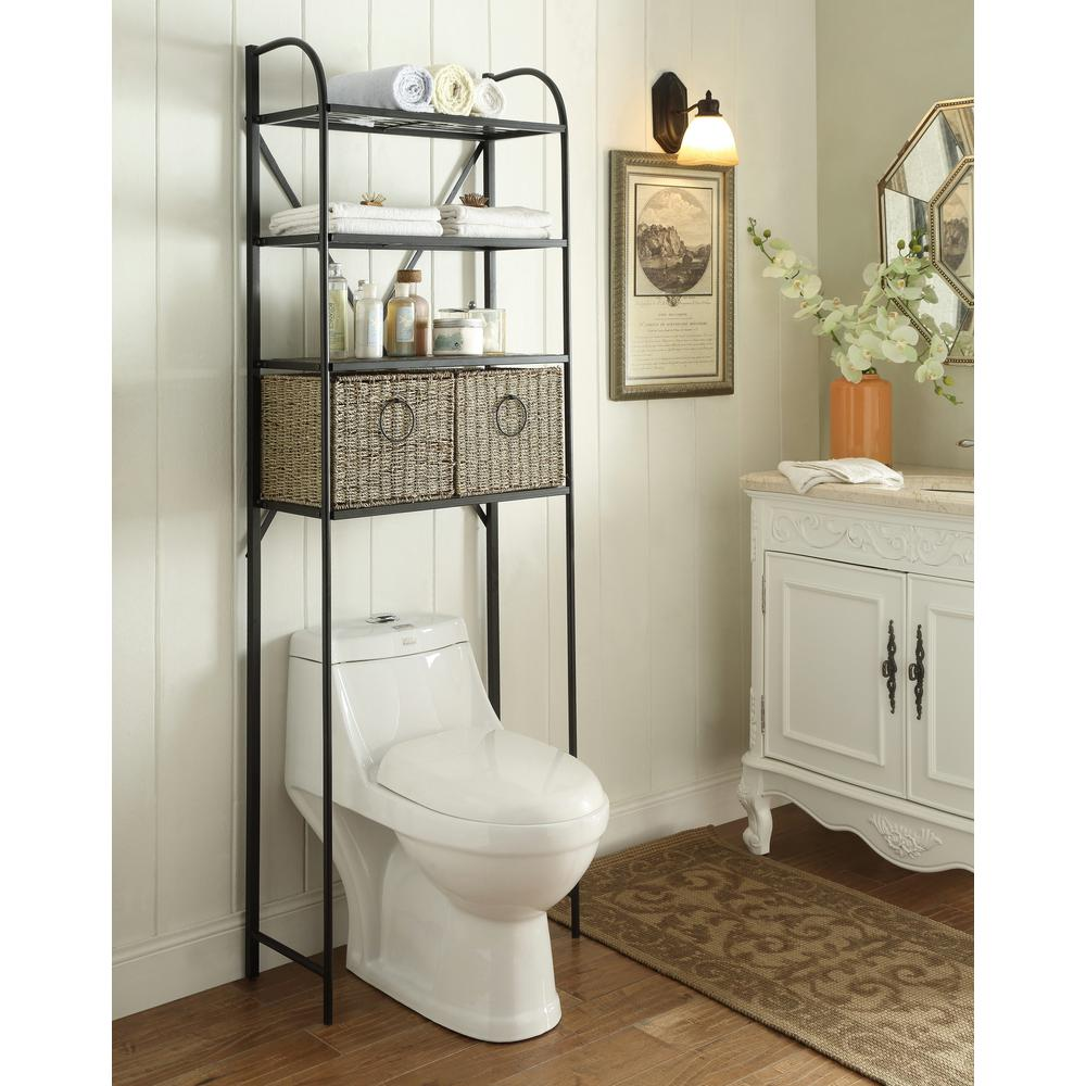 Bathroom Toilet Cabinets Windsor 24 In W X 71 5 In H X 15 In D Metal Over The Toilet Storage Space Saver With 2 Woven Baskets In Brown