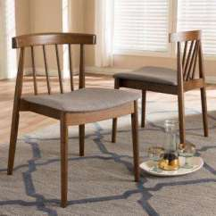 Dining Room Chair Fabric Big Office Chairs Uk Upholstery Parsons Kitchen Wyatt Beige And Walnut Brown Set Of 2