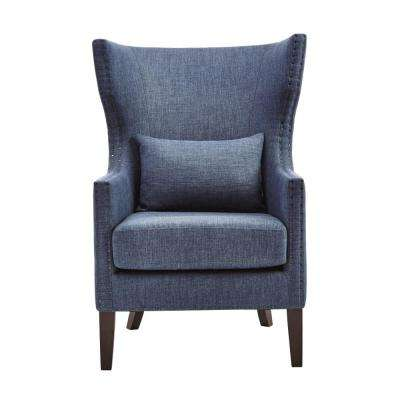 accent wingback chairs hanging canada chair the home depot bentley capri blue upholstered arm