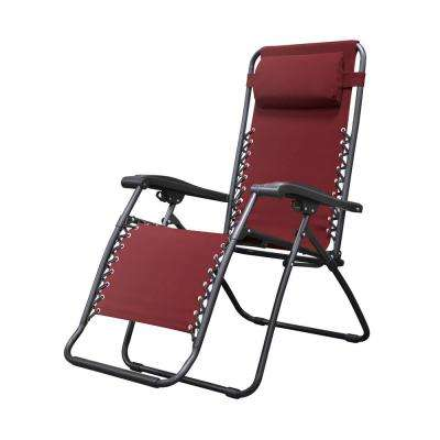 reclining beach chair with footrest united stool chairs patio the home depot infinity burgundy metal zero gravity
