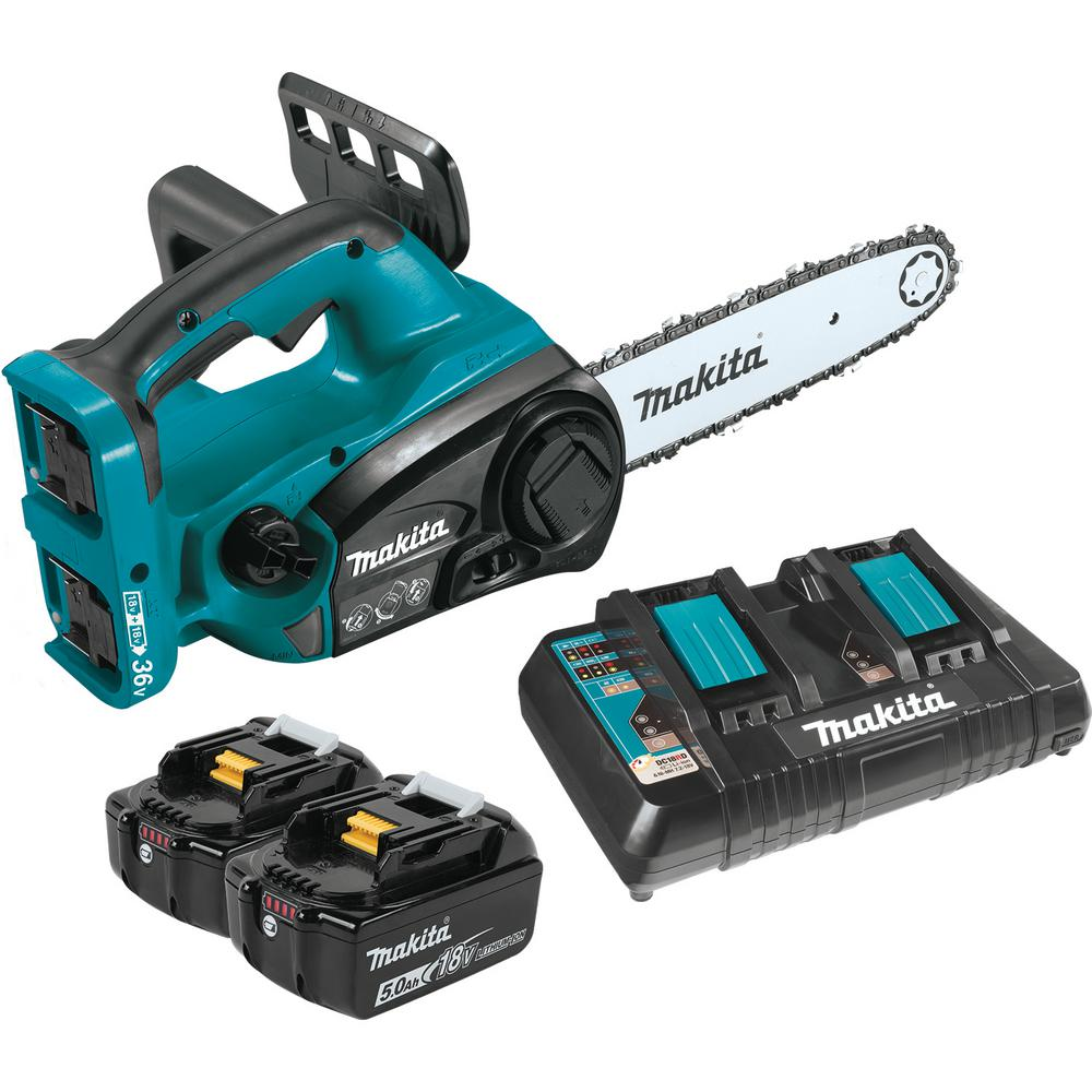 hight resolution of makita 18 volt x2 36 volt lxt lithium ion cordless chain saw kit with 2 batteries 5 0ah dual port charger and chain xcu02pt the home depot