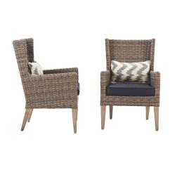 Wicker Patio Chair Set Of 2 Mid Century Childrens Table And Chairs Home Decorators Collection Naples Grey All Weather Outdoor Wingback Dining With Navy Cushions