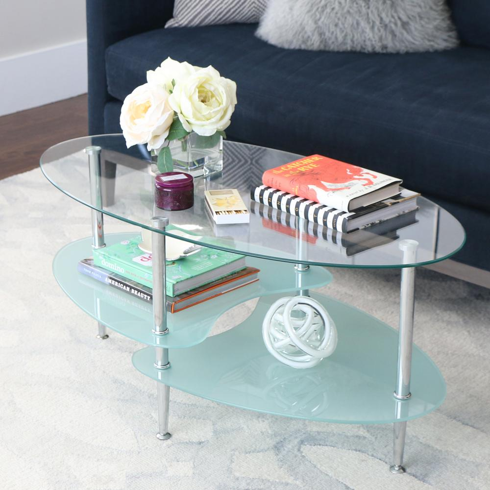 walker edison furniture company mid 38 in silver medium oval glass coffee table with shelf c38b4 the home depot