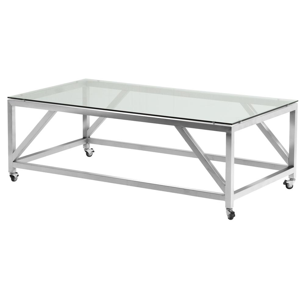 emerald armen living enessa tempered glass top contemporary rectangular coffee table with wheels in brushed stainless steel lcencoglbs the home