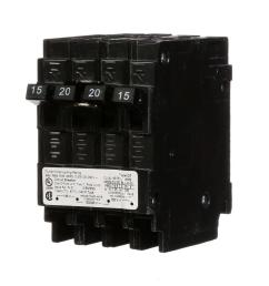 triplex two outer 15 amp single pole and one inner 20 amp double pole circuit breaker [ 1000 x 1000 Pixel ]