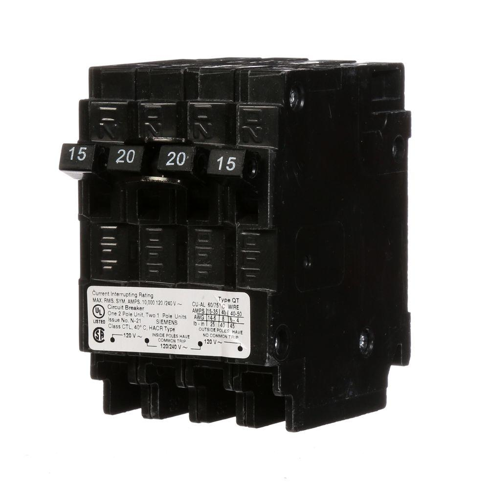 hight resolution of triplex two outer 15 amp single pole and one inner 20 amp double pole circuit breaker