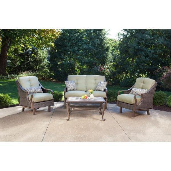 outdoor conversation sets patio furniture Hanover Ventura 4-Piece Patio Conversation Set with